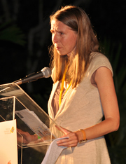 Katrina Browne accepting BIFF award