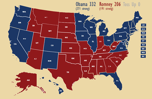 My electoral college projection, 2012